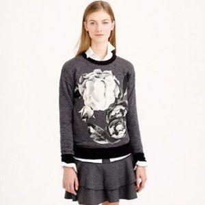 J. Crew Floral Black & Gray Crewneck Sweatshirt